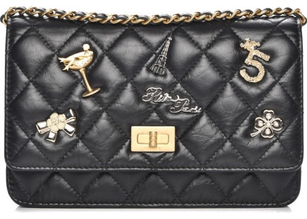 127621cdee65 Chanel Reissue 2.55 Wallet On Chain Quilted Diamond Lucky Charms Casino  Black