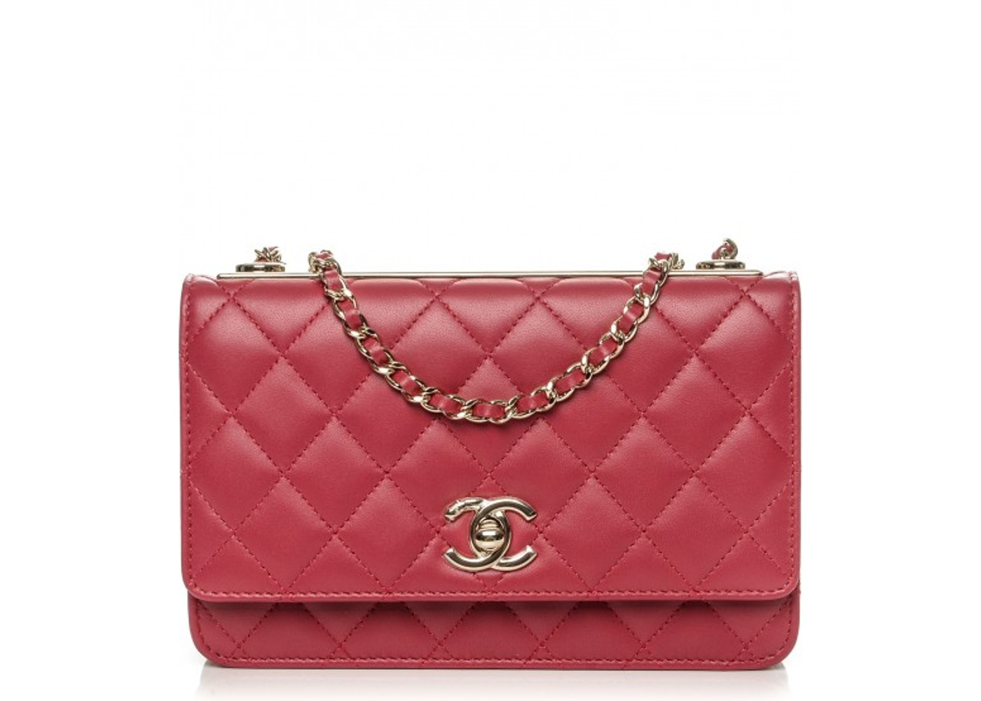 9c6cb018a954 Chanel Trendy CC Wallet On Chain Quilted Diamond Dark Pink. Quilted Diamond  Dark Pink