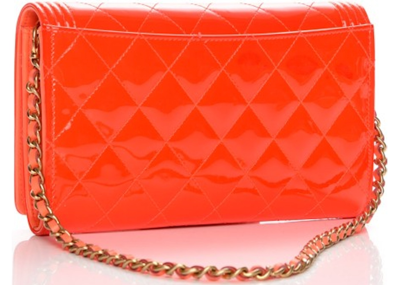 dc774c6b7cea Chanel Boy Wallet on Removable Chain Quilted Diamond Patent Leather/Calfskin  Orange