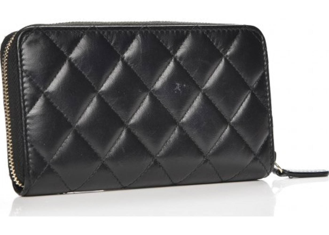 bede74c7a5df Chanel Reissue 2.55 Zip Around Wallet Quilted Diamond Lucky Charms Casino  Small Black