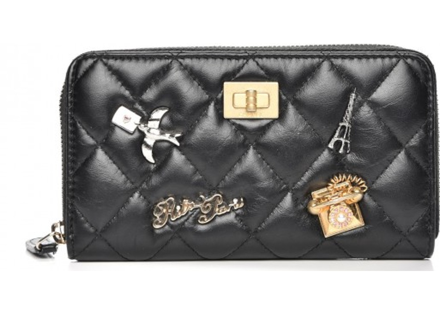 42e45644a4fe Chanel Reissue 2.55 Zip Around Wallet Quilted Diamond Lucky Charms Casino  Small Black. Quilted Diamond Lucky Charms Casino Small Black