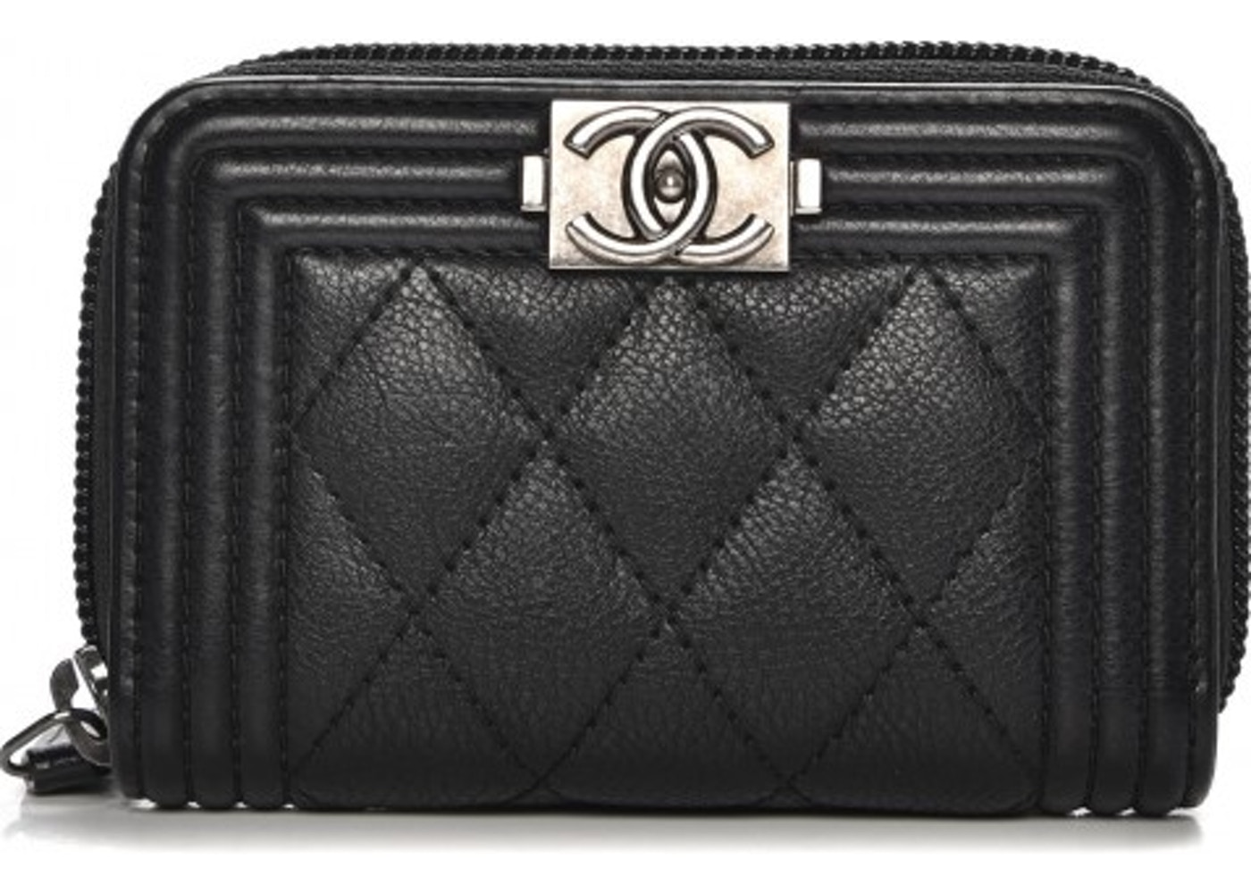 04a76cc8f1677b Chanel Zip Around Boy Coin Purse Wallet Quilted Diamond Black. Quilted  Diamond Black