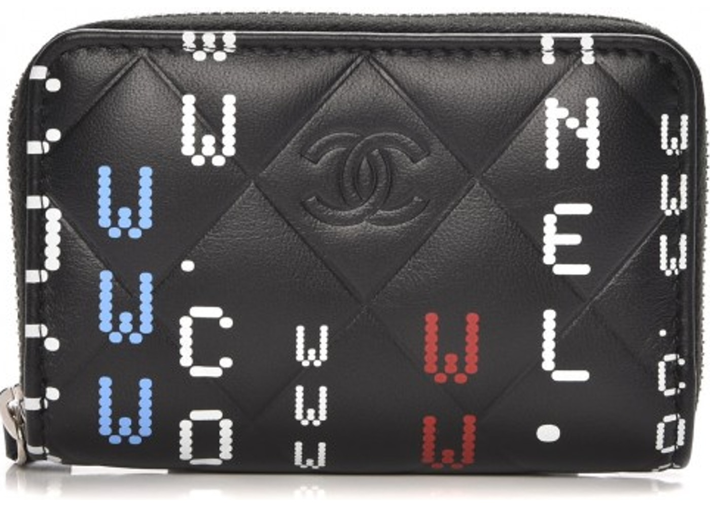 4eb8af0068a220 Chanel Zip Around Coin Purse Wallet Quilted Diamond Data Center Lettering  Black. Quilted Diamond Data Center Lettering Black
