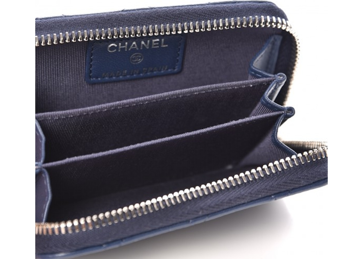e34bcc04c4be Chanel Zip Around Coin Purse Wallet Quilted Diamond Blue