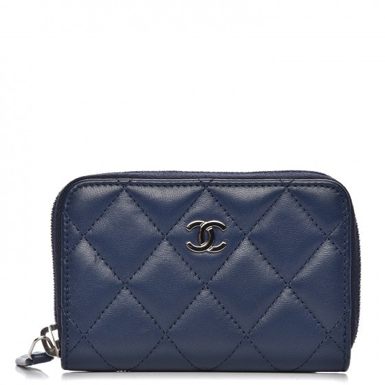 Chanel Zip Around Coin Purse Wallet Quilted Diamond Blue