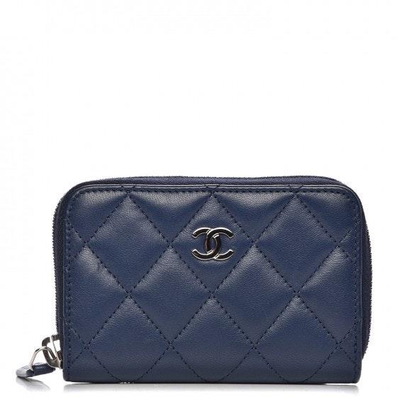 Chanel Zip Around Coin Purse Wallet Quilted Diamond Blue
