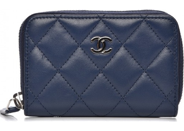 f19d51fcbfd3ef Chanel Zip Around Coin Purse Wallet Quilted Diamond Blue