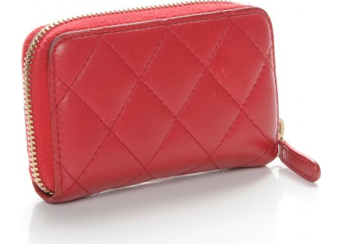 8049423f81ff Chanel Zip Around Coin Purse Wallet Quilted Diamond Dark Pink