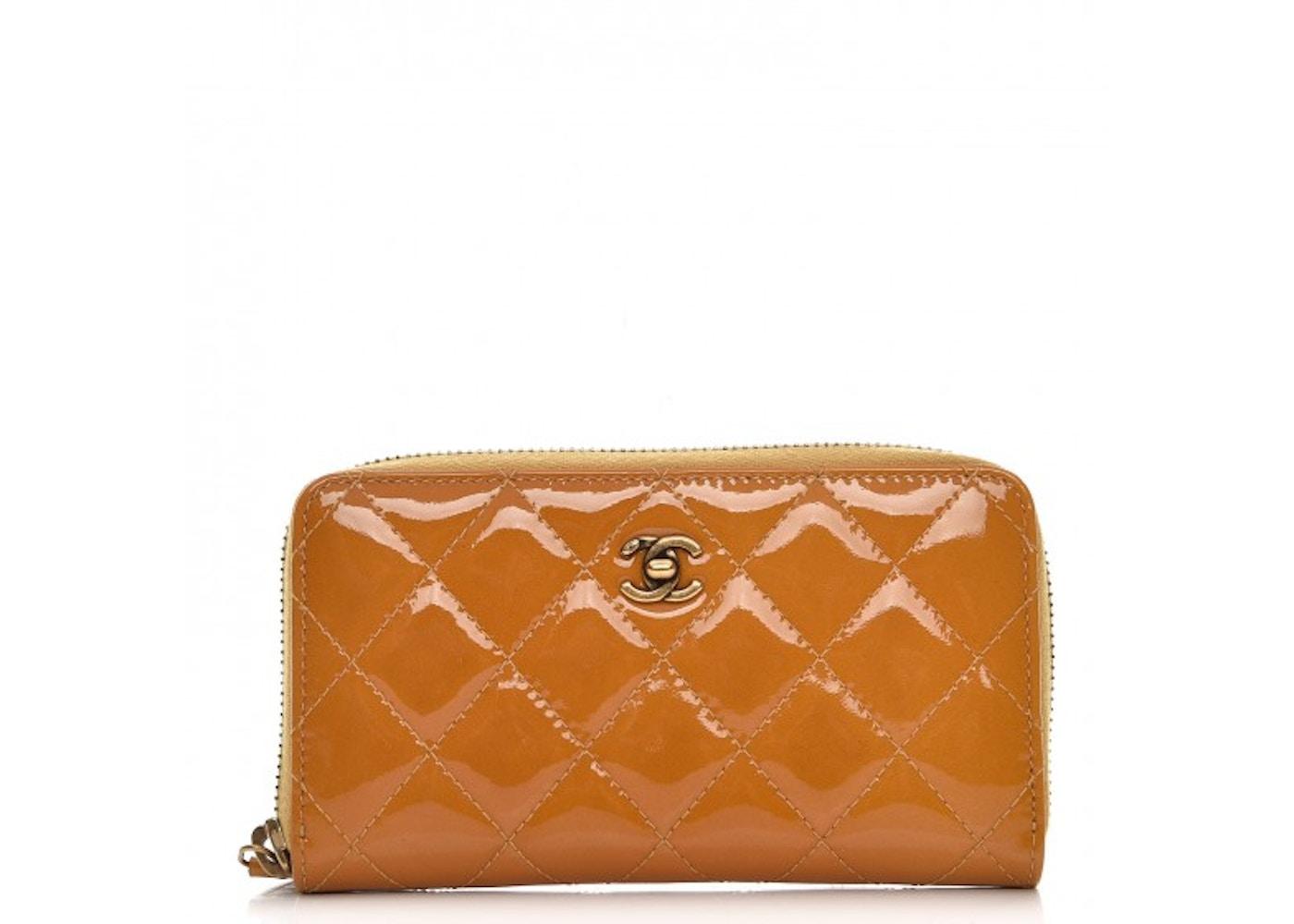 Chanel Zip Around Wallet Quilted Diamond Small Mustard