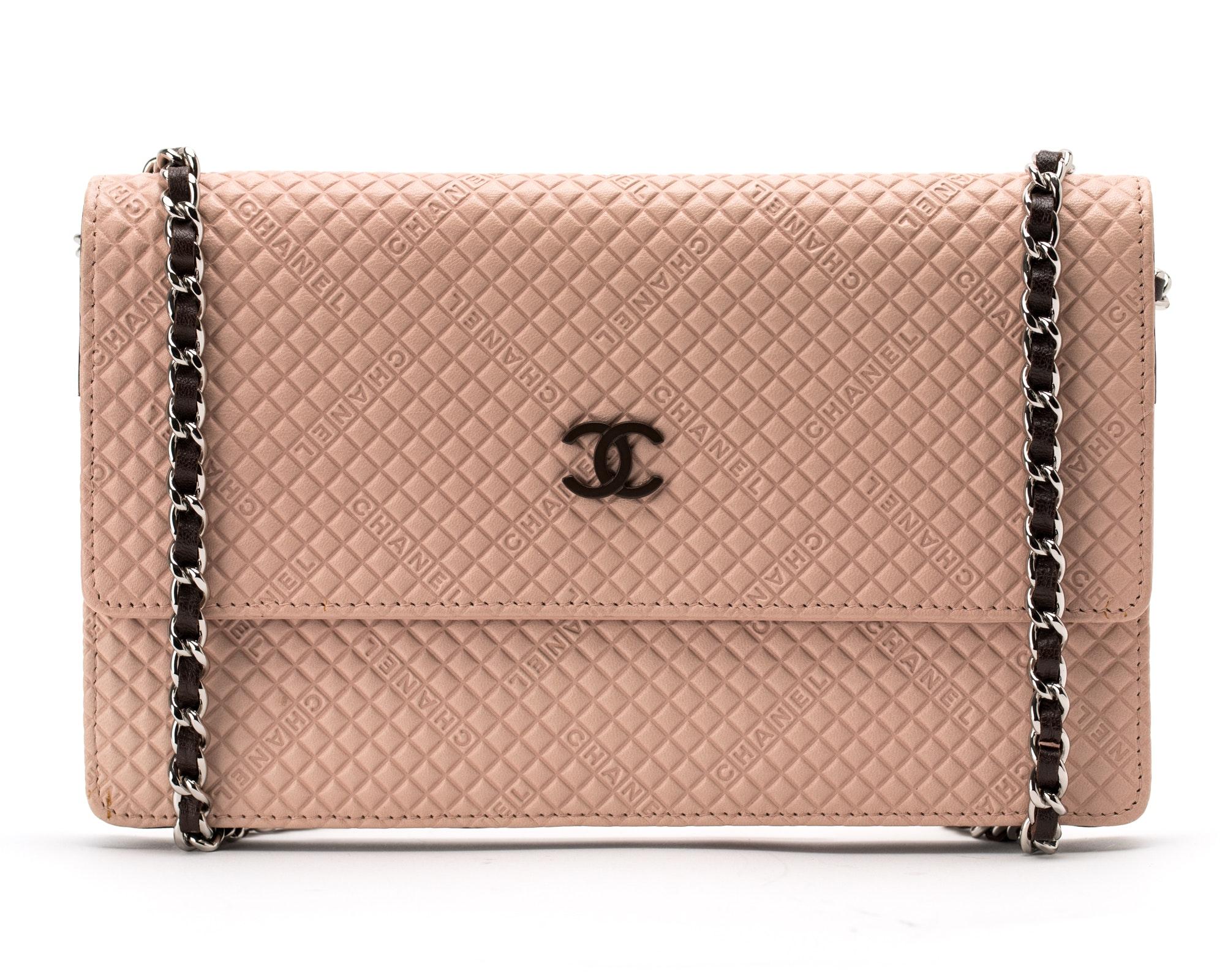 Chanel Wallet on Chain Logo Diamond Pink