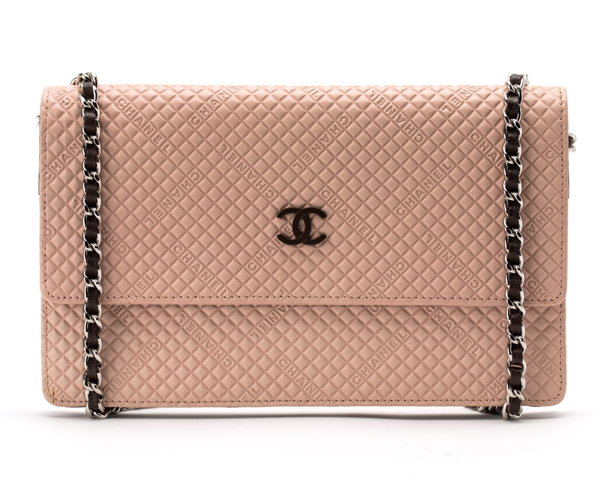 Chanel Wallet on Chain Logo Diamond Pink
