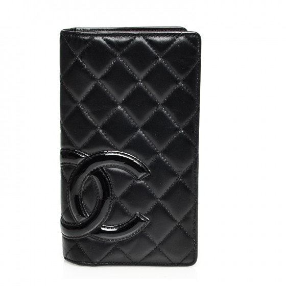 Chanel Cambon Yen Wallet Quilted Black