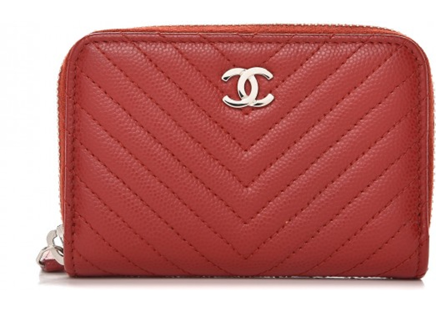 a72f069d978cf3 Chanel Zip Around Coin Purse Quilted Chevron Dark Red. Quilted Chevron Dark  Red