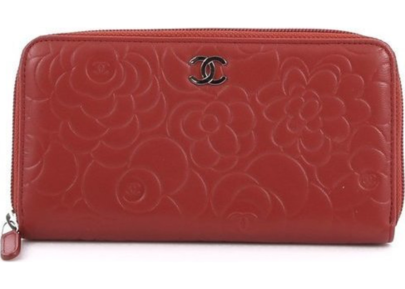 b2e4c43d Chanel Zip Around Wallet Camellia Red
