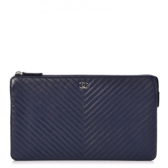 Chanel Zipped Clutch Quilted Chevron Large Navy Blue