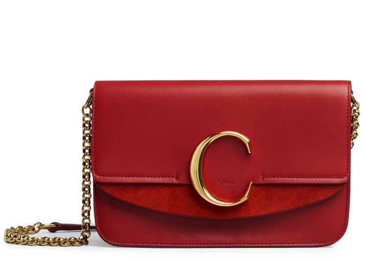 Chloe C Clutch with Chain Plaid Red