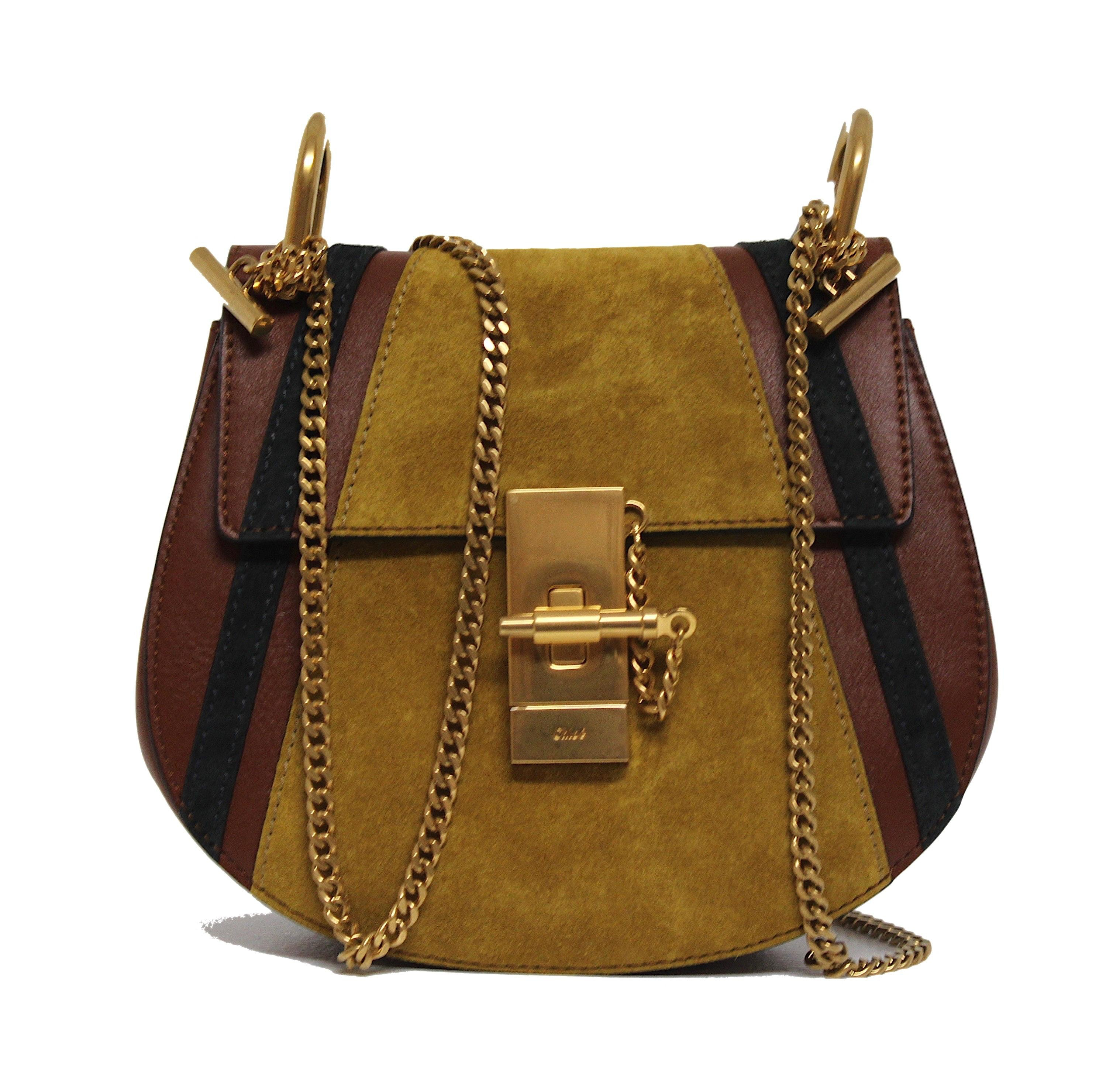 Chloe Drew Shoulder Bag Patchwork Mini Brown Multicolor