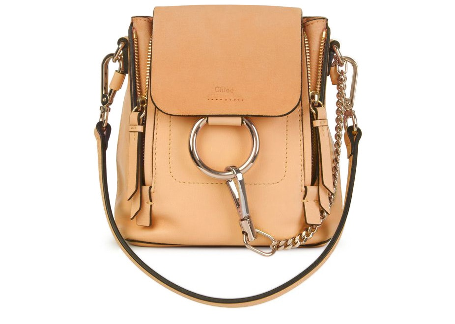 Chloe Faye Backpack Smooth/Suede Mini Blush Nude