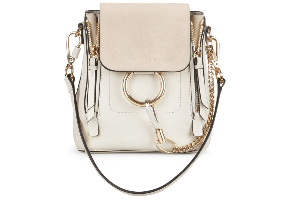 Chloe Faye Backpack Smooth/Suede Mini Off White