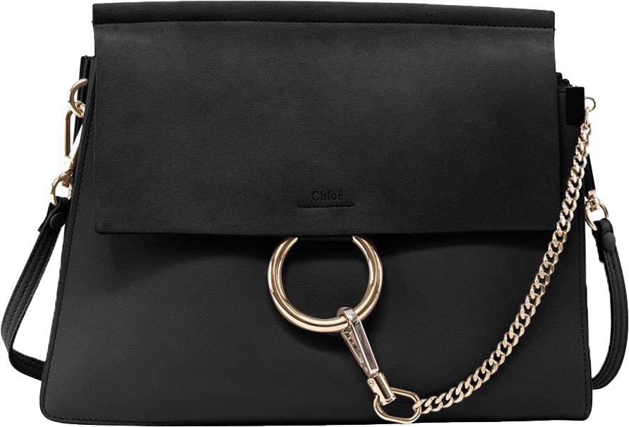 Chloe Faye Shoulder Smooth/Calf Hair Medium Black