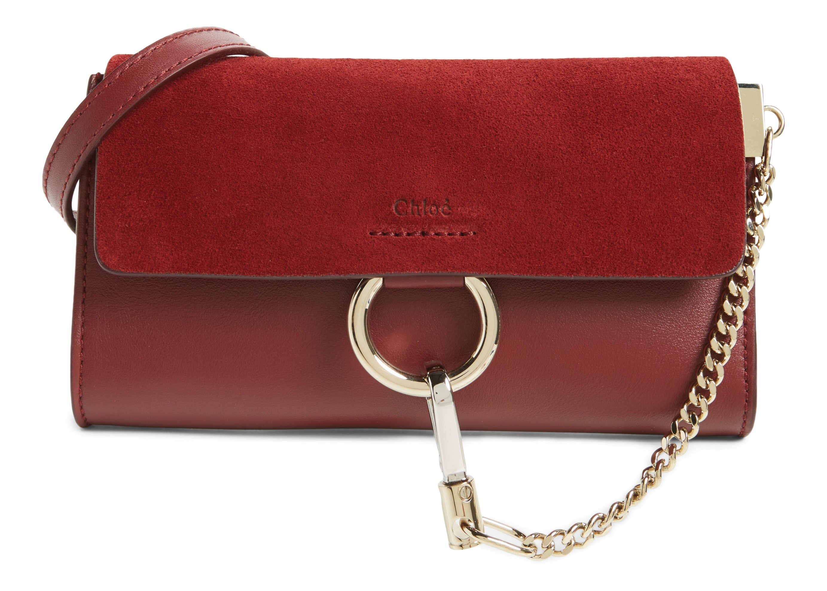 Chloe Faye Wallet on Strap Mini Plum Purple