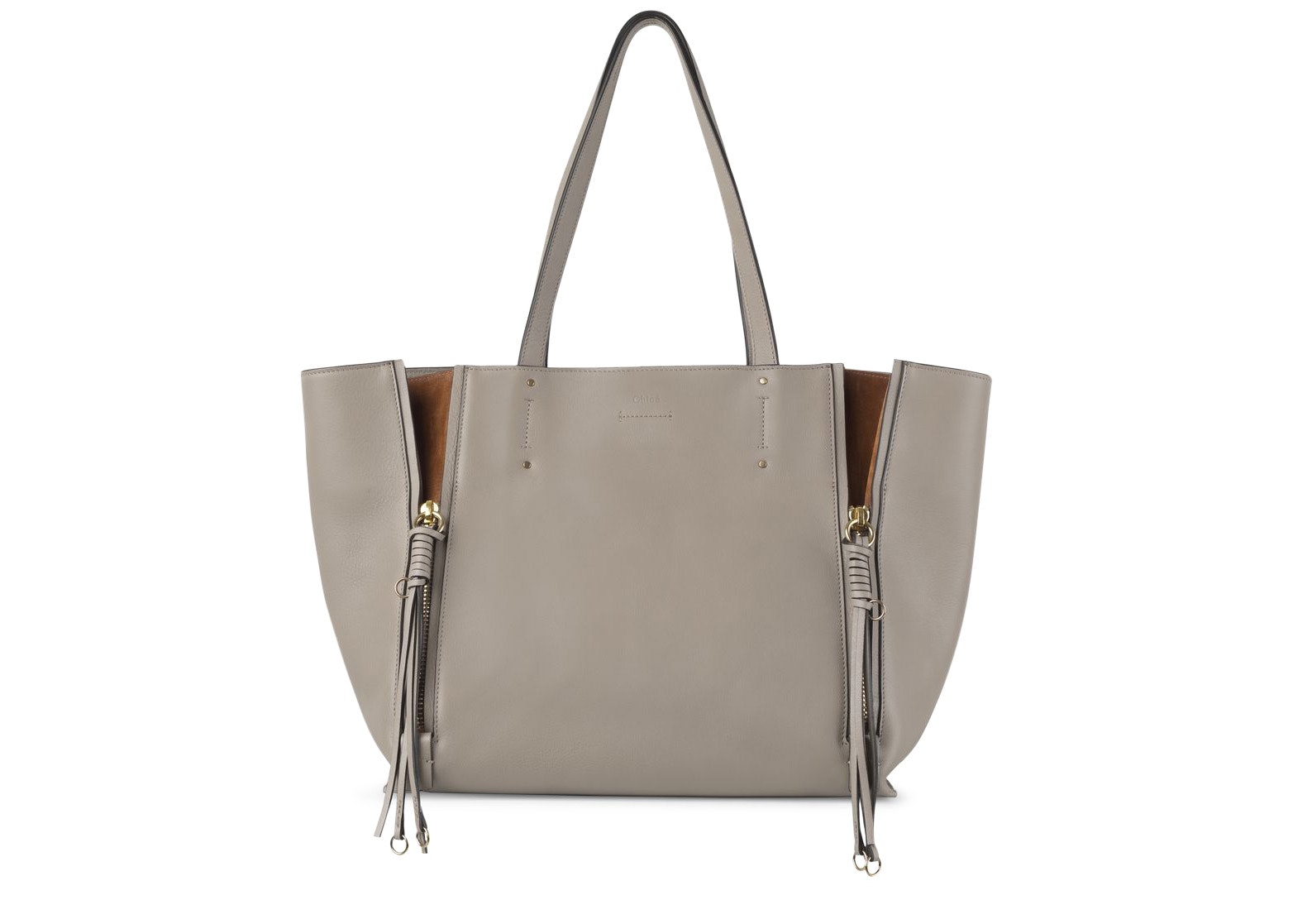 Chloe Milo Tote Smooth/Suede Medium Motty Grey