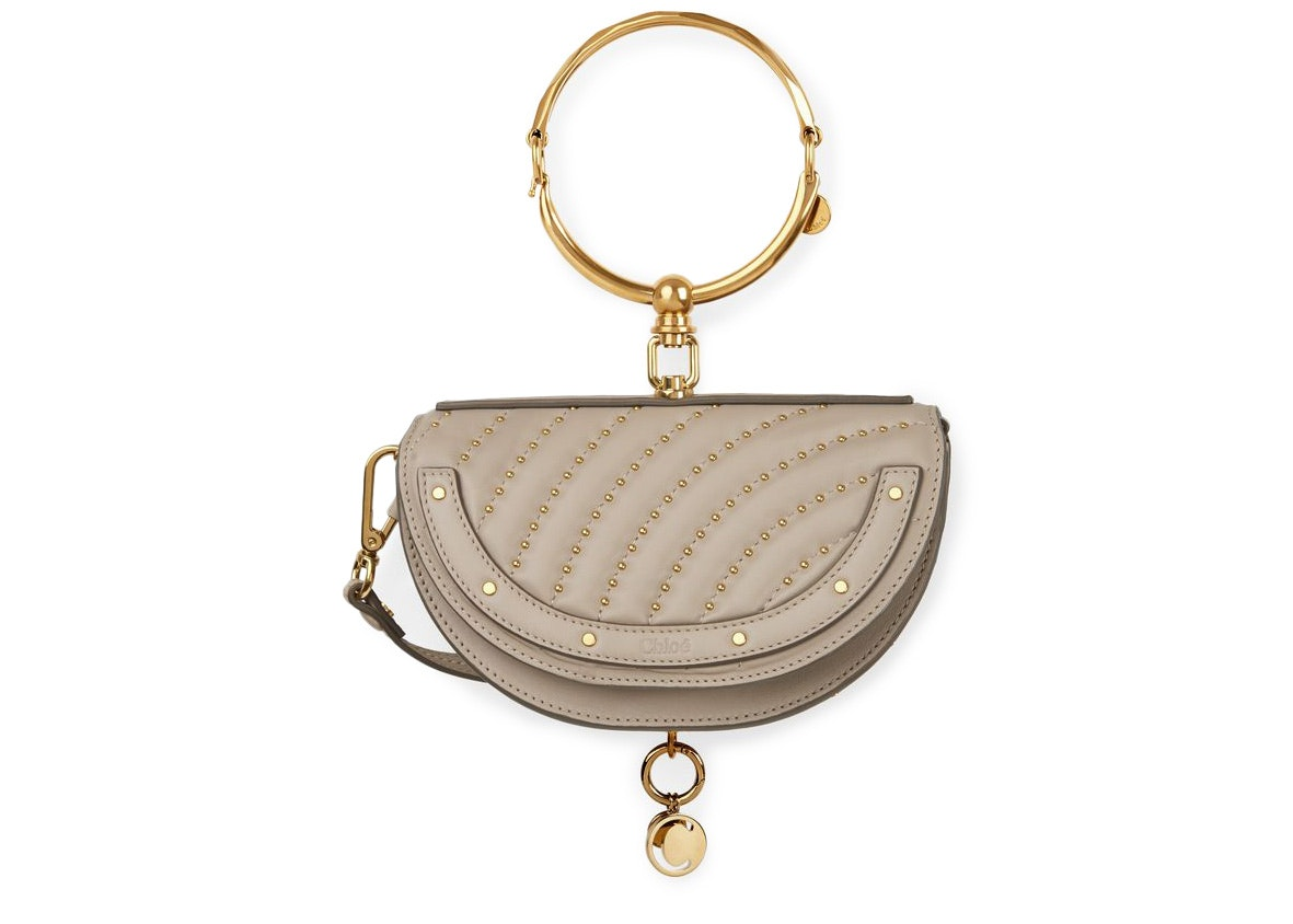 Chloe Nile Minaudiere Studded Quilted/Smooth Pastel Grey