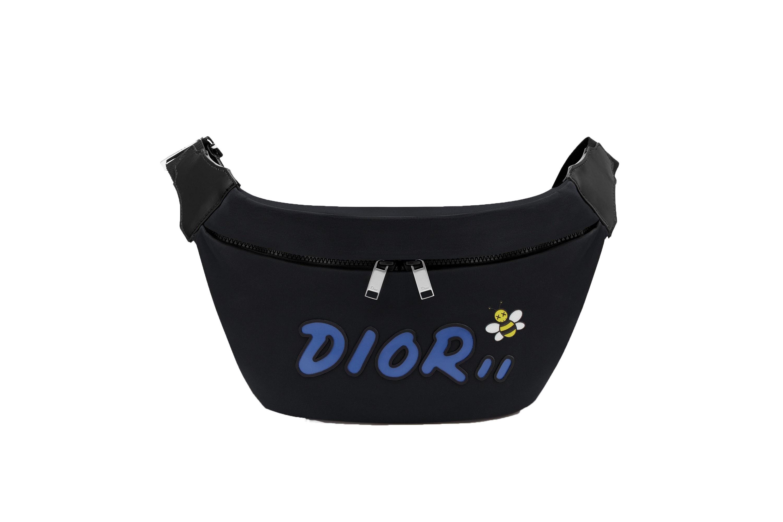 Dior x Kaws Belt Bag Blue Logo Nylon Black