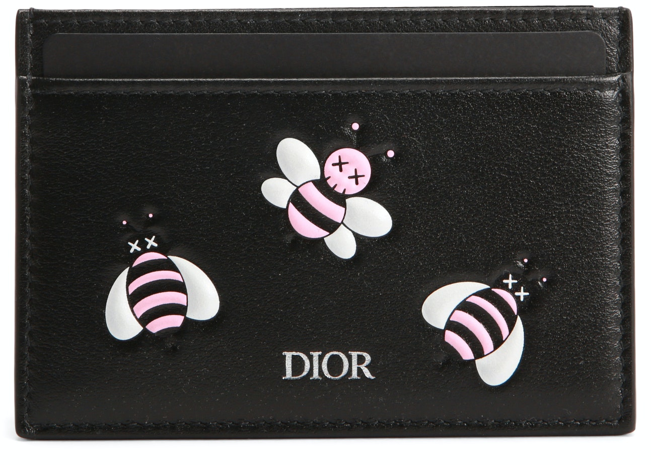 Dior x Kaws Card Holder Pink Bees Black