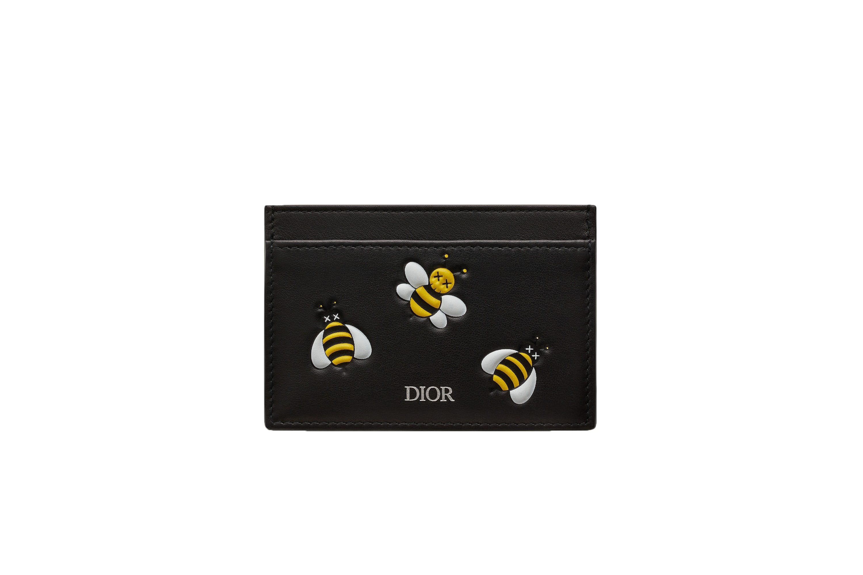 Dior x Kaws Card Holder Yellow Bees Black
