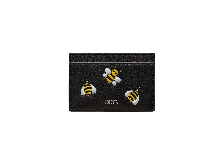 Dior x Kaws Card Holder Yellow Bees Black