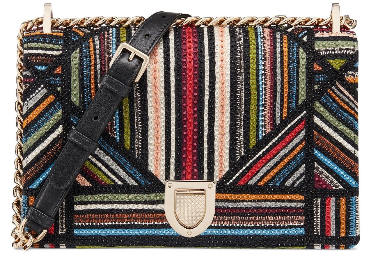 Dior Diorama Shoulder Bag Embroidered Black Multicolor