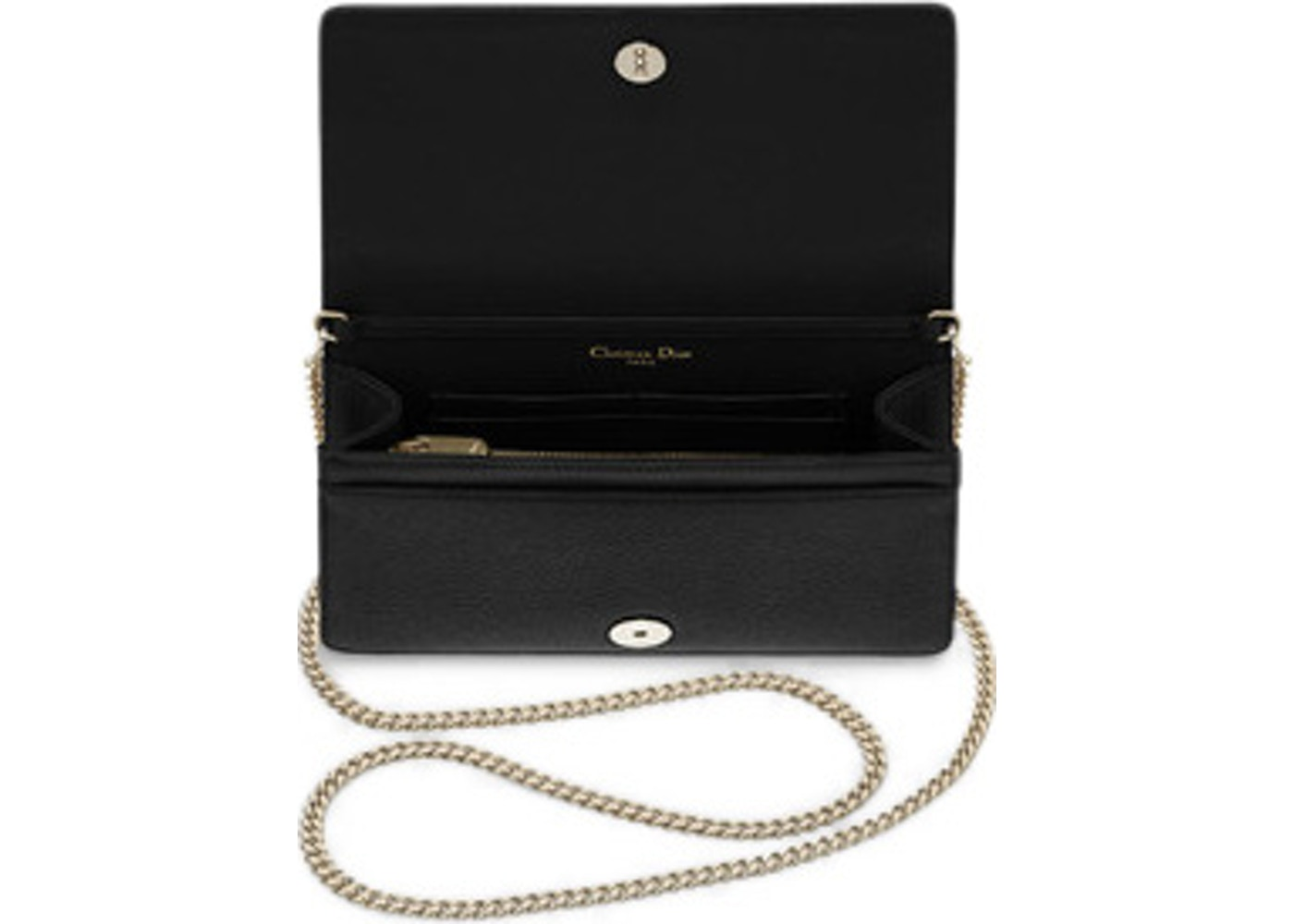 6a246462605 Dior Diorama Wallet on Chain Clutch Grained Calfskin Black