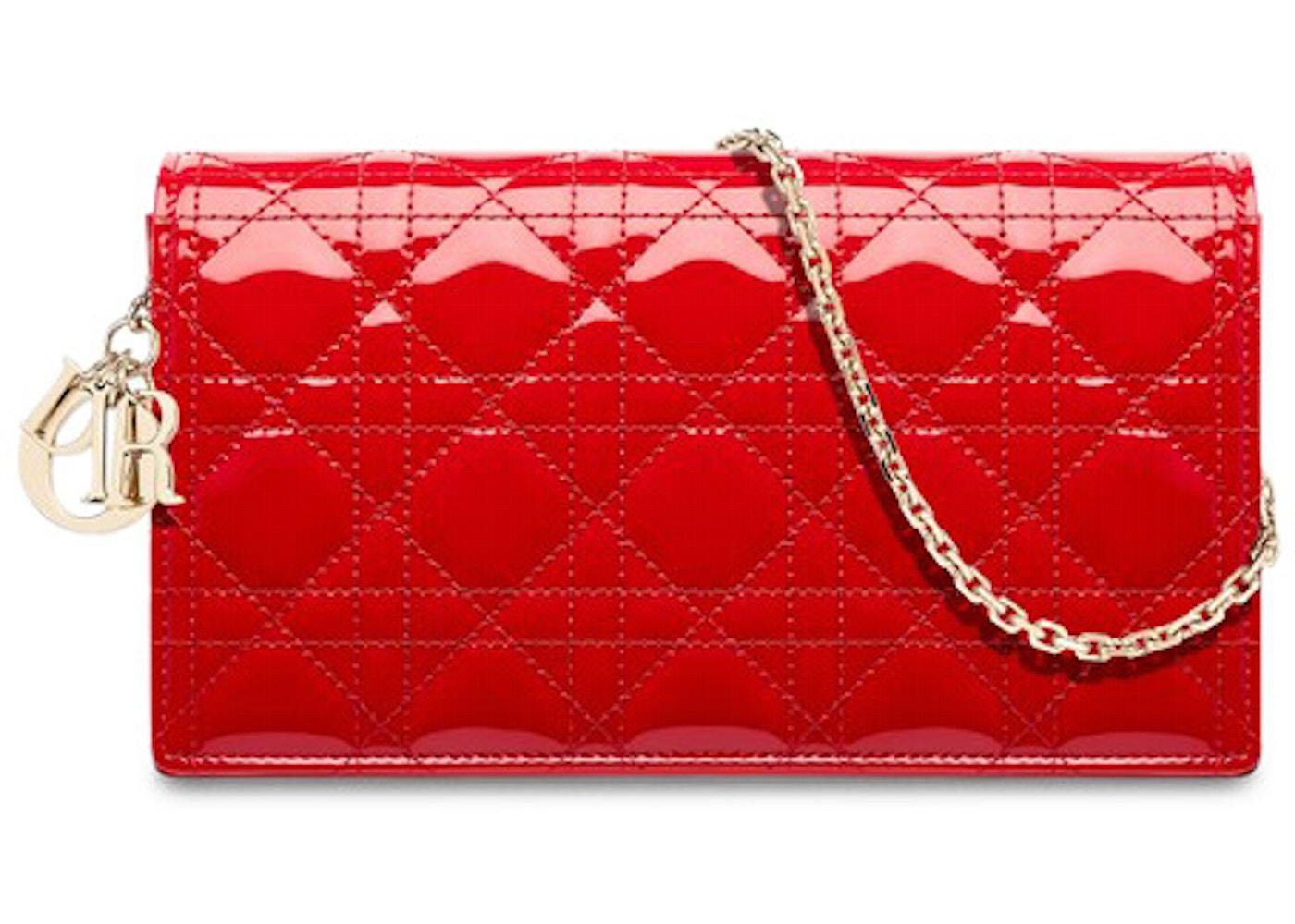 175c58e507 Dior Lady Dior Clutch Patent Calfskin Red