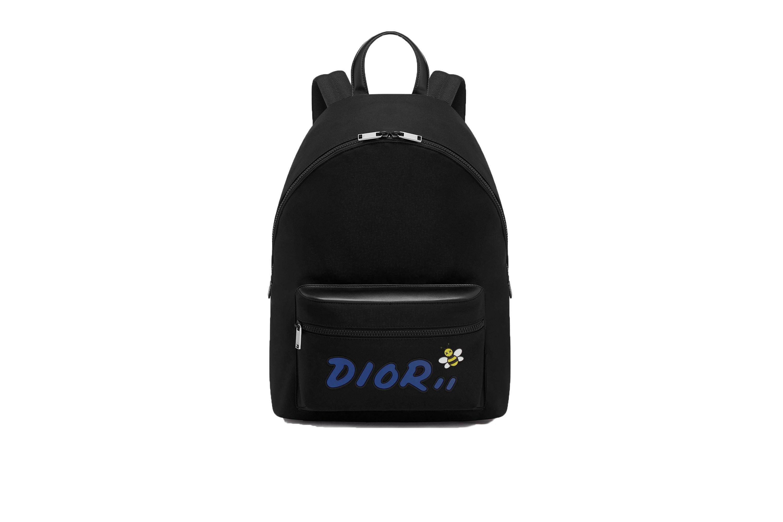 Dior x Kaws Rider Backpack Blue Logo Nylon Black