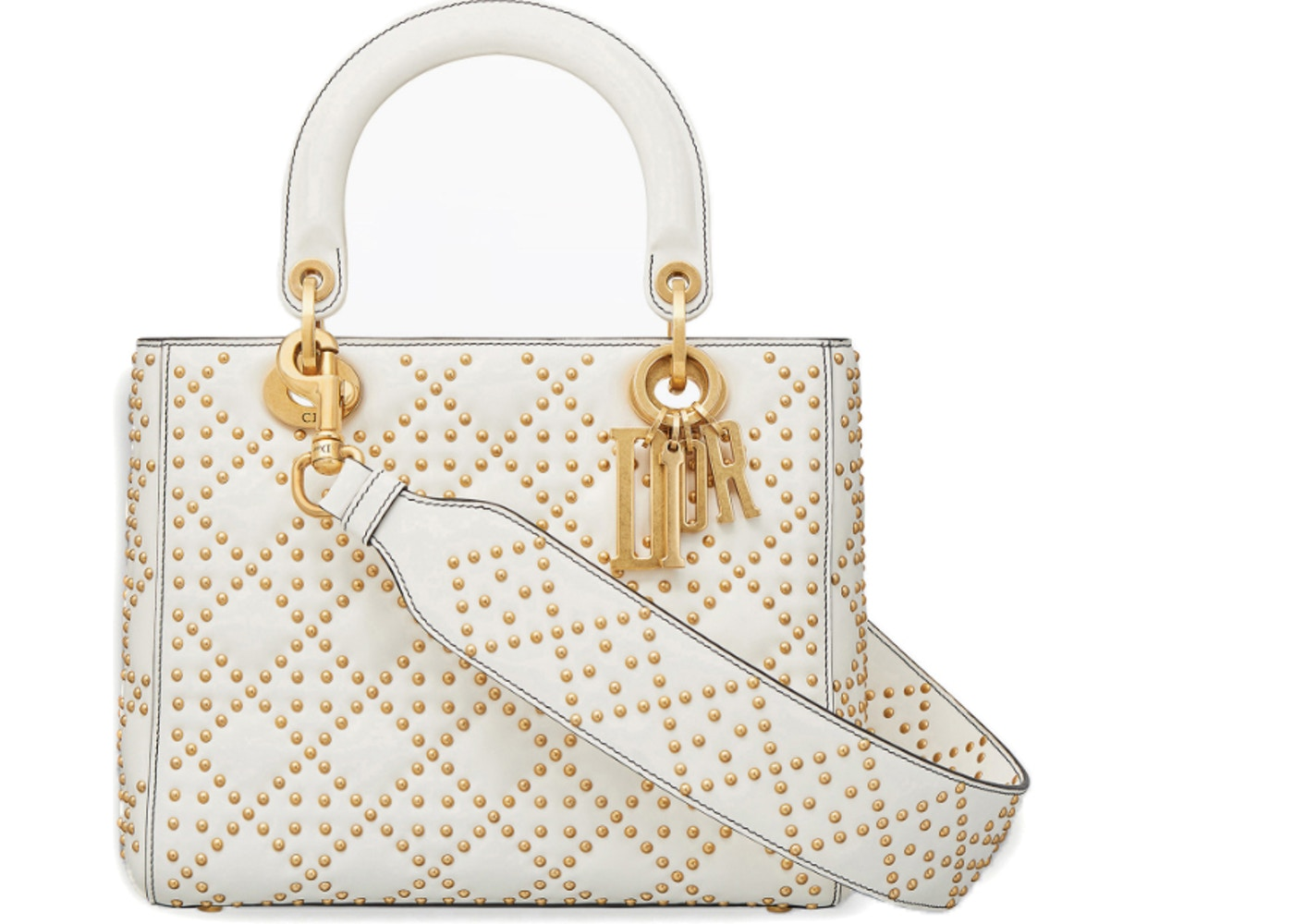 f3631a2b Dior Top Handle Supple Lady Bag Cannage Studded Off White