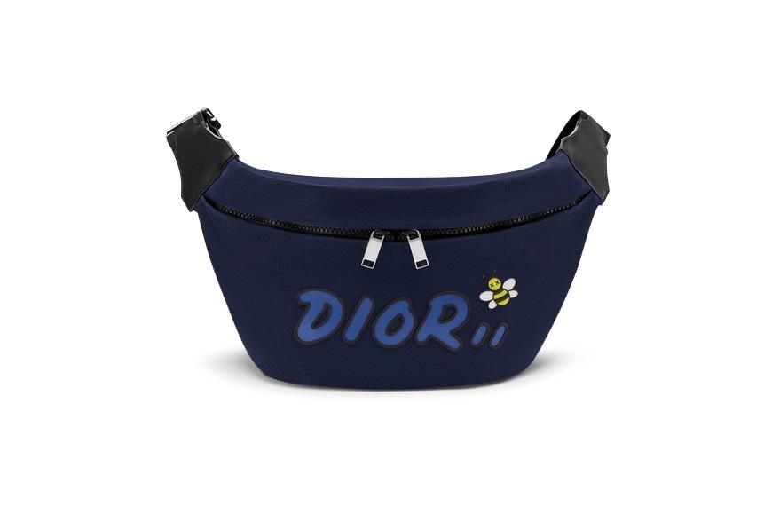 Dior X Kaws Belt Bag Blue Logo Nylon Navy