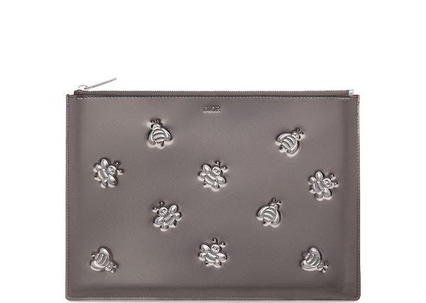 3c19c1942ee2 Dior x Kaws Pouch Calfskin Bee Print Silver