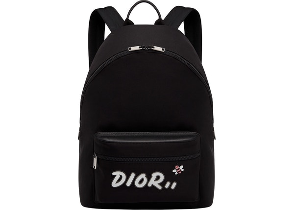 e0a7517ddff Dior x Kaws Rider Backpack White Logo Nordstrom Exclusive Nylon Black
