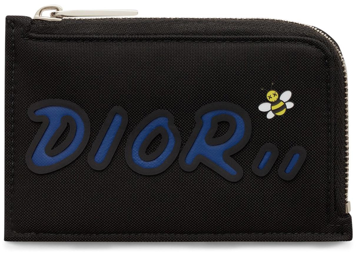 Dior x Kaws Zippered Card and Coin Holder Blue Logo Nylon Black
