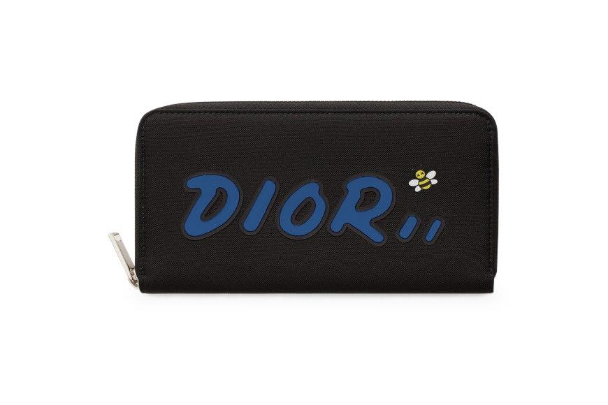 Dior x Kaws Zippered Wallet Blue Logo Nylon Black