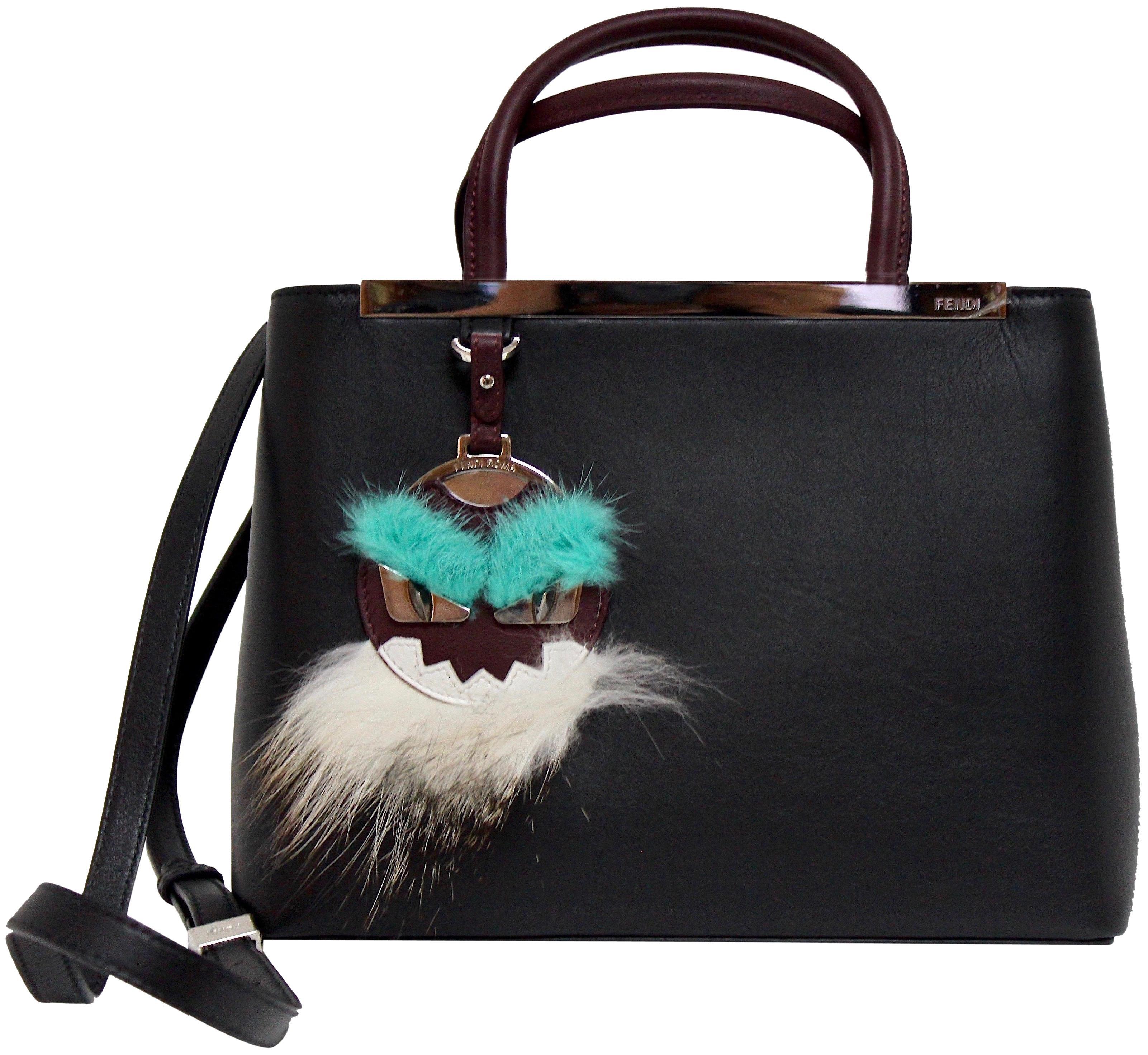 Fendi 2jours Top Handle Mink/Fox Fur Petite Black