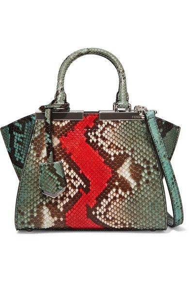 Fendi 3Jours Python Small Green Red