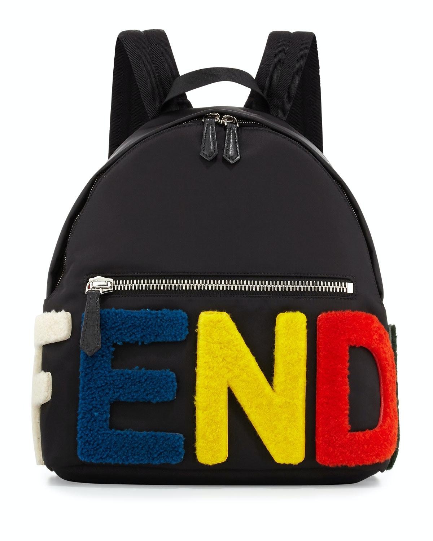 Fendi Backpack Shearling Logo Black Multicolor