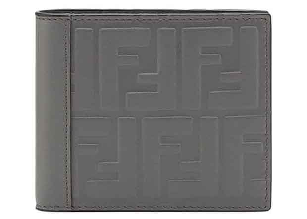 Fendi Bifold Wallet Embossed FF Grey