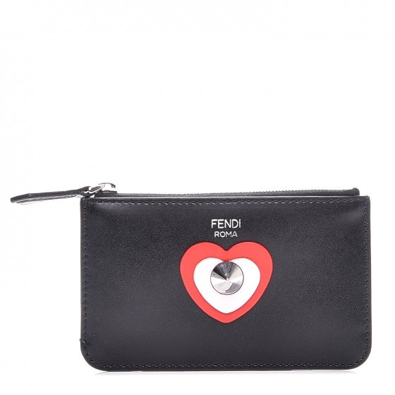 Fendi Coin Pouch Vitello Applique Stud Black Red