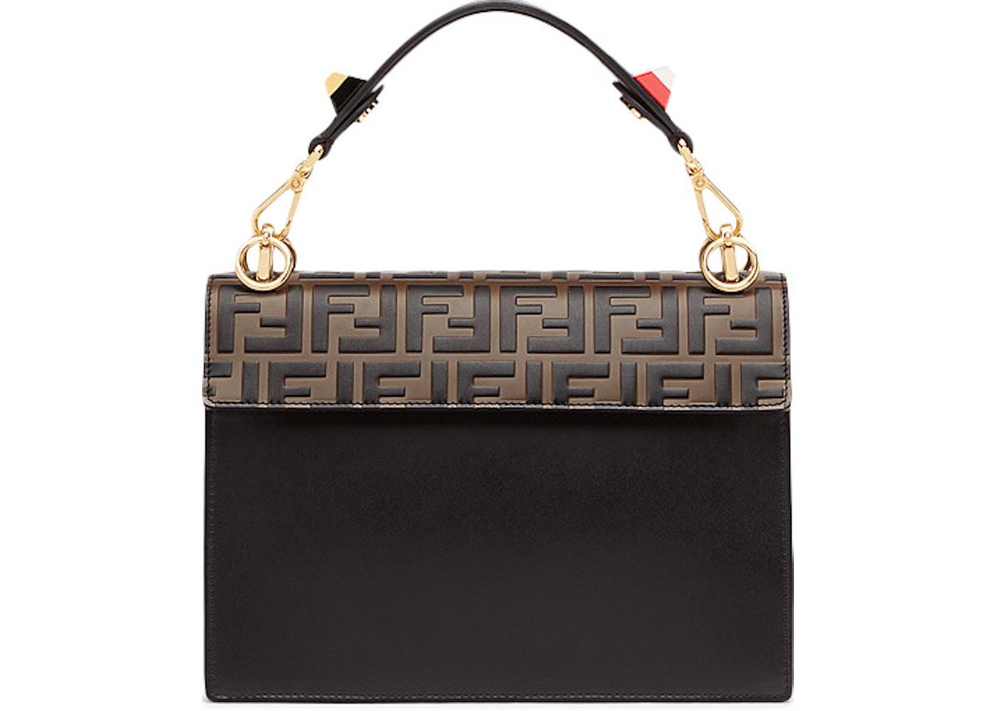 Fendi Kan I Shoulder Bag FF Black Brown 5497b8f0cce86
