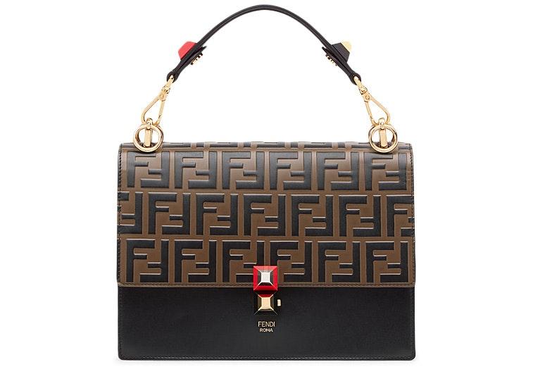Fendi Kan I Shoulder Bag FF Black/Brown