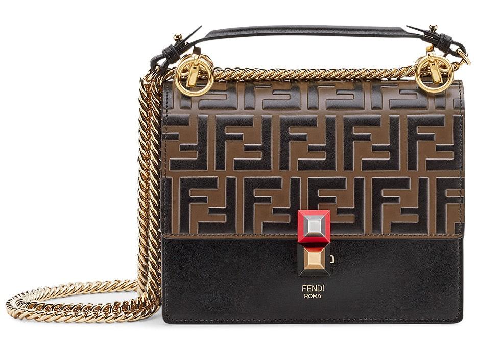 Fendi Kan I Shoulder Bag FF Small Black/Brown