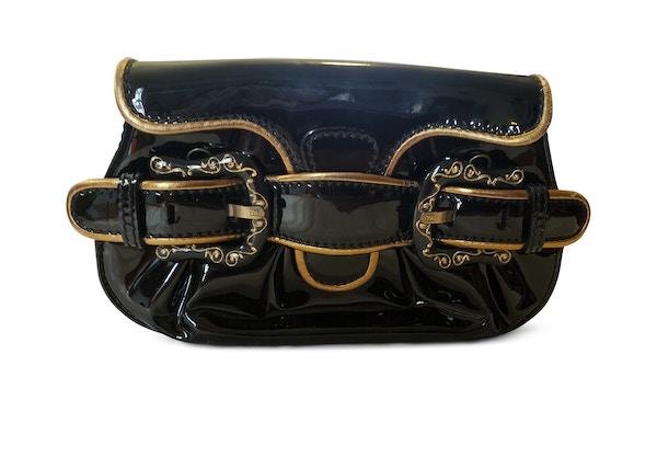 fbb1bfd145 Fendi Daisy Bag Charm Navy. lowest ask.  285. Fendi Mini B Clutch Patent  Black Gold